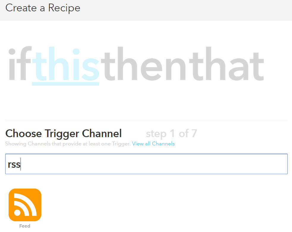 RSS to Twitter with IFTTT step 1