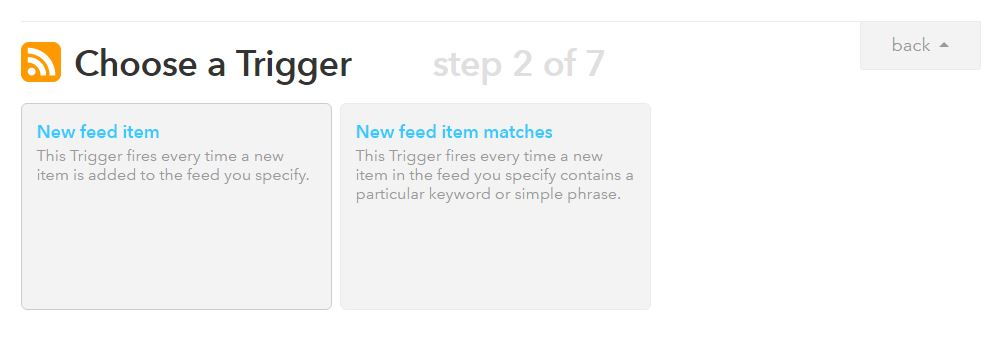 RSS to Twitter with IFTTT step 2