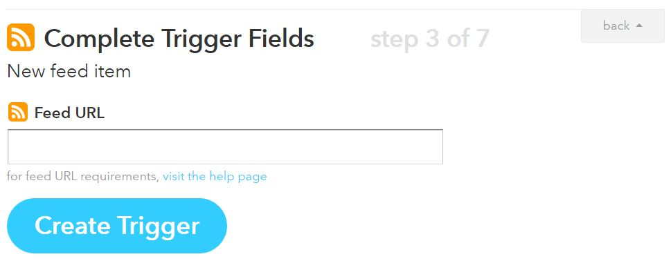 RSS to Twitter with IFTTT step 3