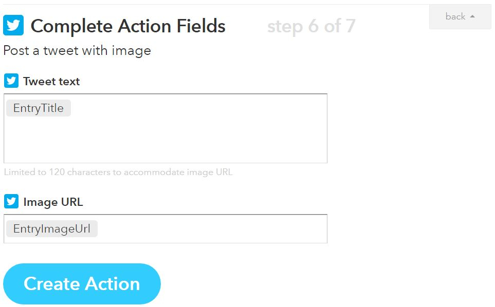 RSS to Twitter with IFTTT step 6