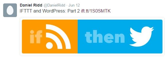RSS to Twitter with IFTTT example tweet